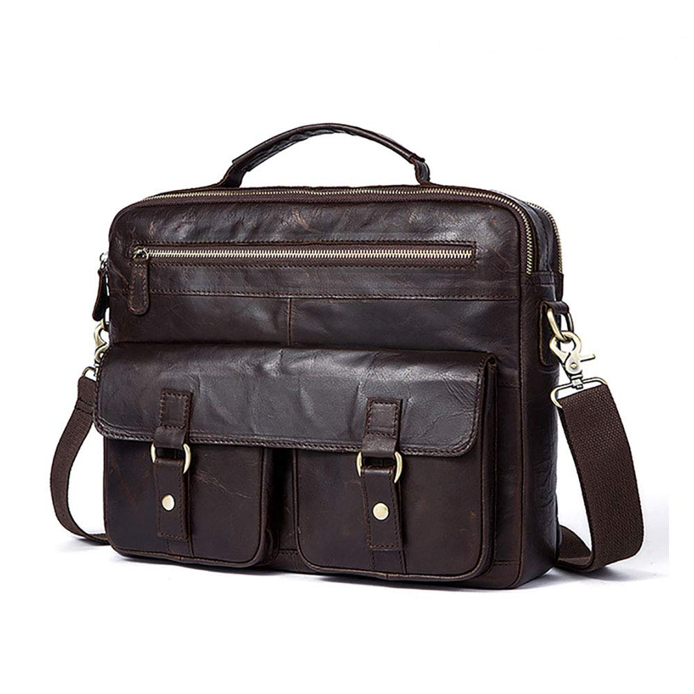 Xinyuan Mens European and American Leather Shoulder Messenger Bag Mens Fashion Tote Bag Retro Business Bag 14 Inch Laptop Travel Learning Business Coffee