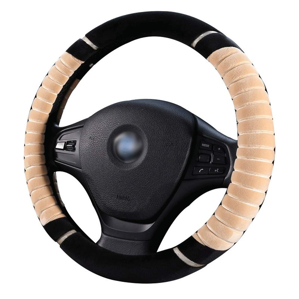 Winter Warm Non-Slip Shock Absorption Universal Car Steering Wheel Cover Plush Soft Texture 15//38cm Steering Wheel Cover for Women and Man