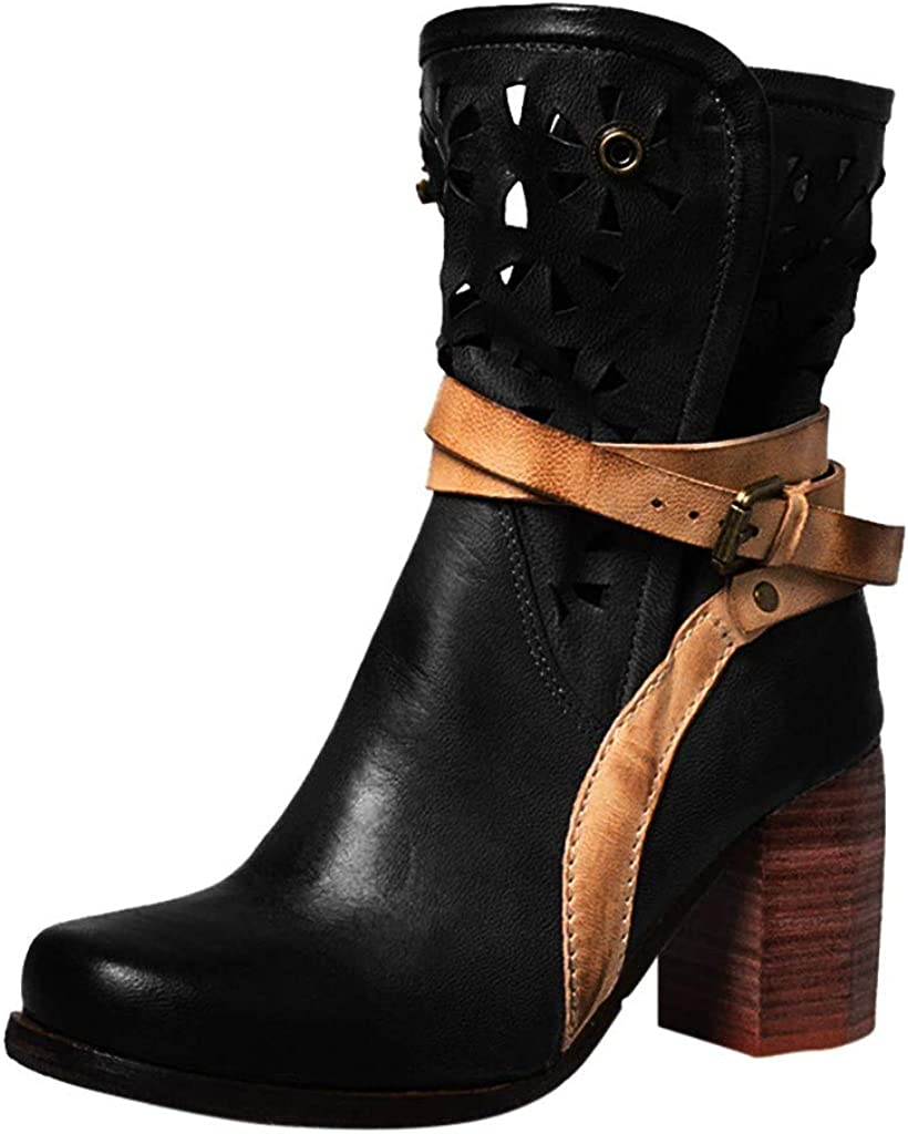 Women Sheriff Saloon Western Boot Leather Buckle Hollow-Out Boot Pearl Oxford Boot Side Zipper Cowgirl CombatLIM&Shop