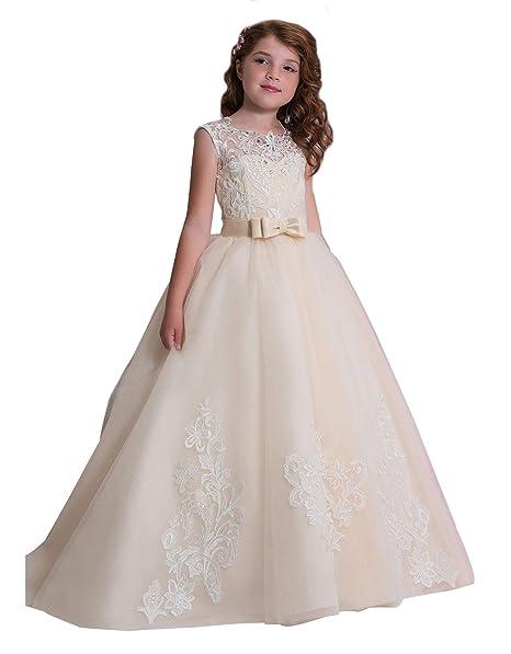 Amazon.com: KSDN Vestido de boda para niñas con flor y lazo ...