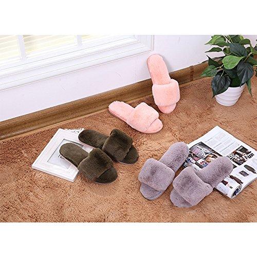 Pantoufles Bout Hiver amp; Pantoufles KINDOYO Hiver Ouvert Confortable Bambin Bebe Chaud Chaussures Coton Chaussons Femmes Gris Filles Peluche FRqgw