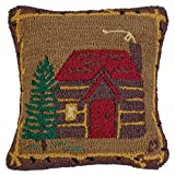 Cabin in the Woods - 18'' Hooked Pillow from Chandler 4 Corners