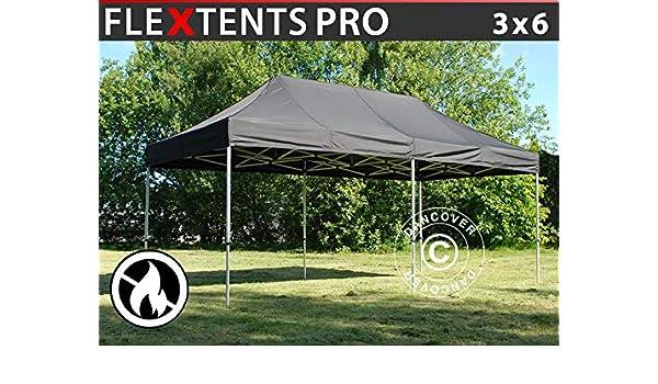 Dancover – Carpa plegable impermeable FleXtents PRO 3 x 6 m, color negro, ignífugo: Amazon.es: Jardín