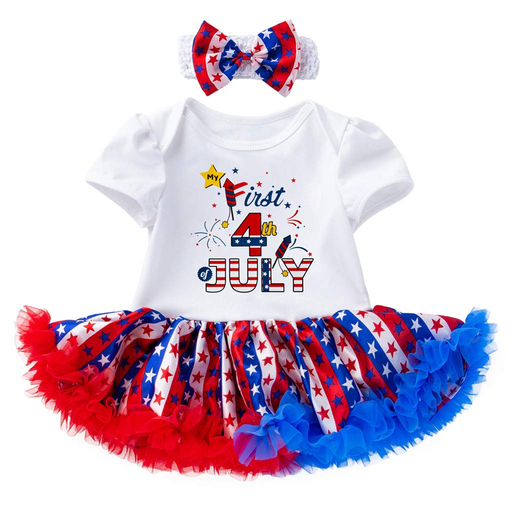 fbbd99a8c Amazon.com: 2019 4th of July Toddler Baby Girls Cute Headband Letter Mini  Dress Party Princess Holiday Celebration Dress: Clothing