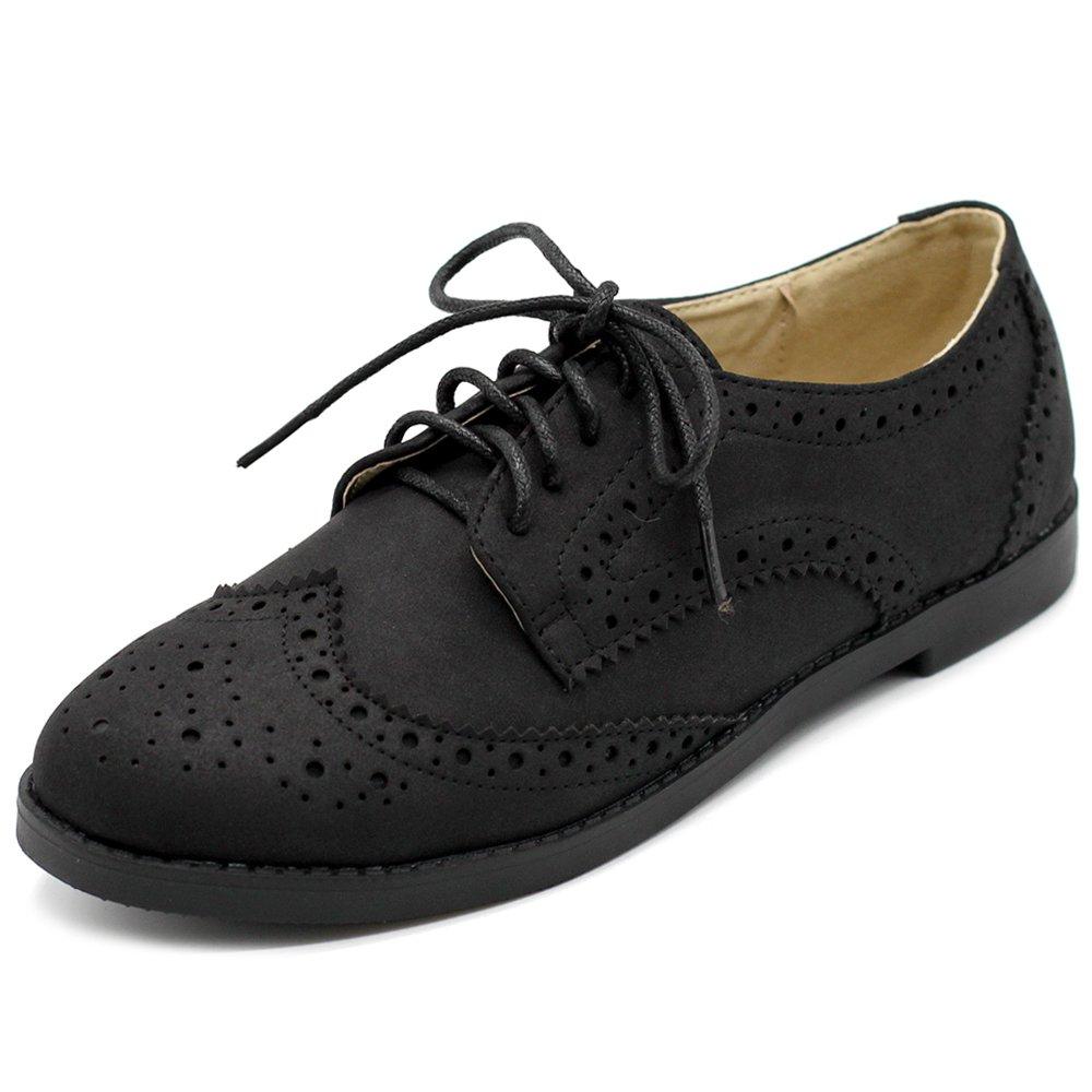 Ollio Womens Flats Shoes Wingtips Lace up Faux Nubuck Oxfords M2920 (10 B(M) US, Black)