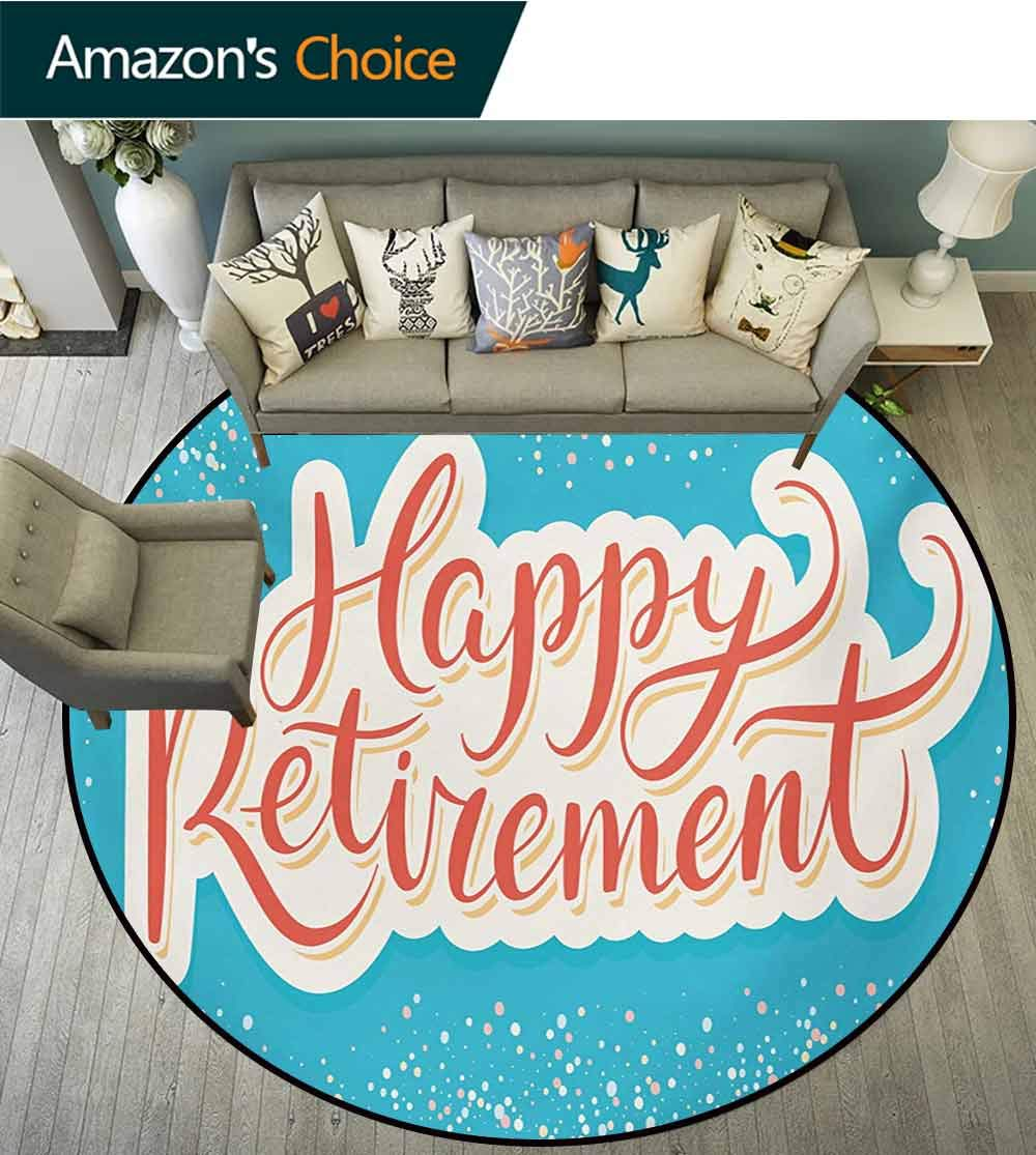 RUGSMAT Going Away Party Non Slip Round Rugs,Happy Retirement Banner Design Hand Lettering Congratulatory Oriental Floor and Carpets,Round-31 Inch Coral White Sky Blue by RUGSMAT (Image #3)