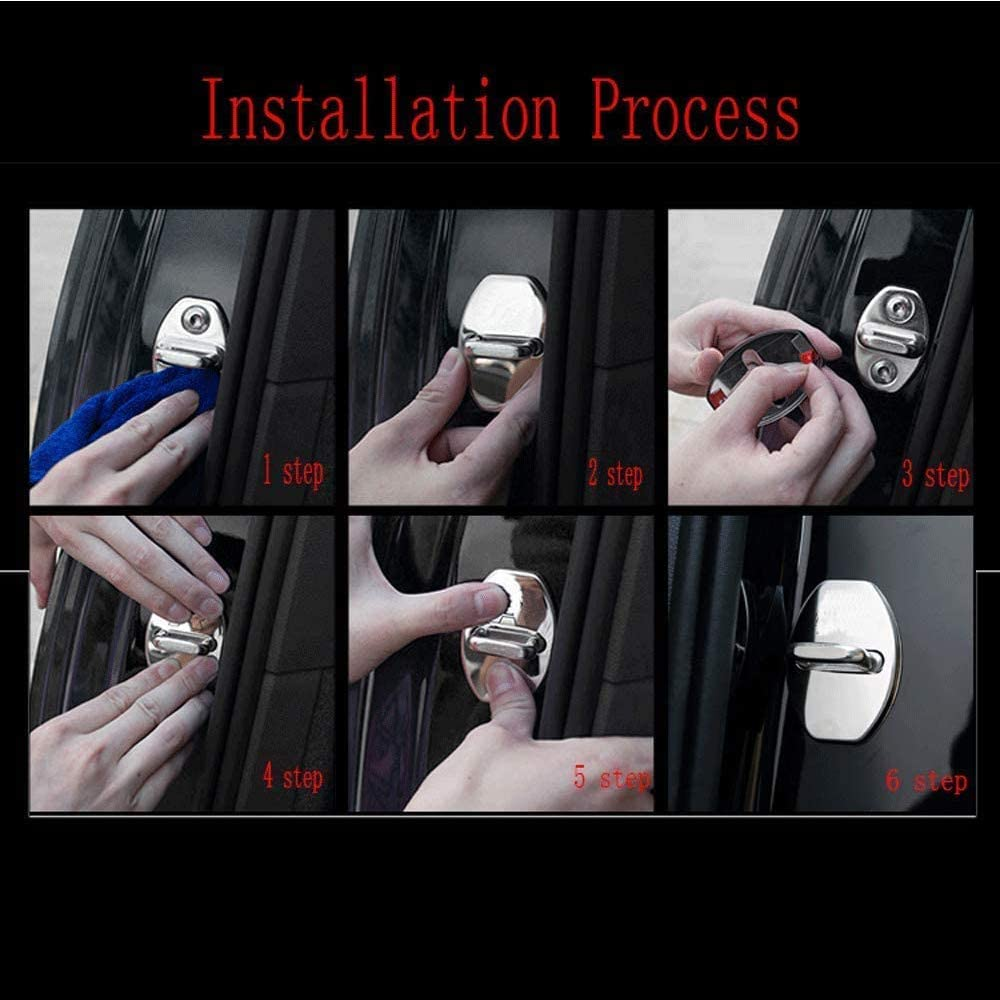 4Pack Stainless Steel Car Door Lock Latches Cover Protector for V-olvo V40 V50 V60 V70 V90 S40 S80 S90 XC40 XC60 XC70 XC90 Auto Accessories Styling,A