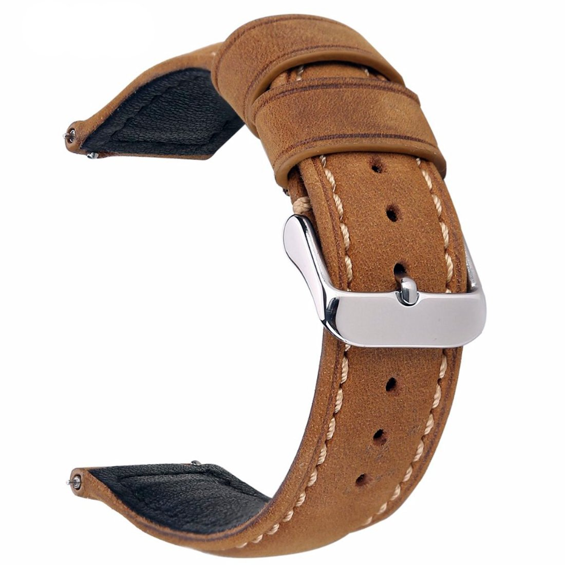 Izasky 20mm 22mm Replacement Watch Bands Genuine Leather Light Brown Dark Matte Retro Leather Watch Strap with Quick Release Spring Bar (Light Brown 20mm)