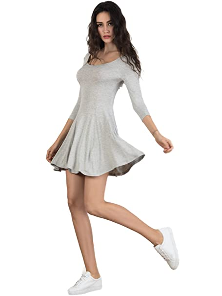 1b9bc91bcc PERSUN Women s Cotton Scoop Neck Fit and Flare A Line Skater Dress Cute  Dancewear at Amazon Women s Clothing store