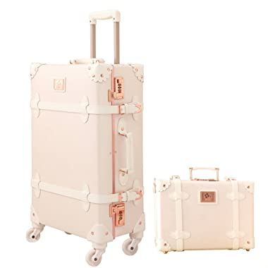Travel Vintage Luggage Sets Cute Trolley Suitcases Set Lightweight Trunk Retro Style for Women Rose White 20