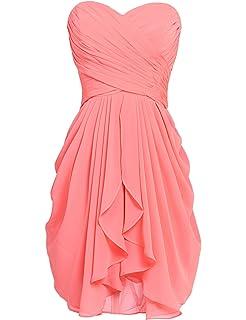 6c5ed3363aa Sarahbridal Women s Short Long Chiffon Sweetheart Bridesmaid Dresses Prom  Gowns Pleats