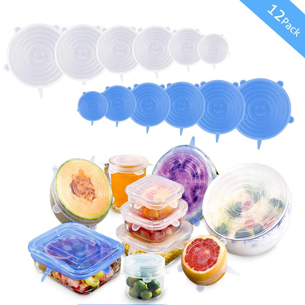 Silicone Stretch Lids, 12 Pack Reusable Airtight Food Storage Covers, Keeping Food Fresh, Durable and Stretchable to Fit Various Sizes and Shapes of Containers.Microwave and Dishwasher Safe 6 Sizes by moopok (Image #1)