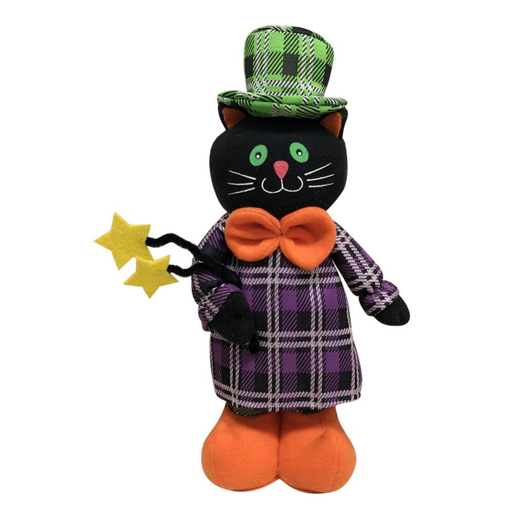YIRUI SP Halloween Decor Cloth Plush Toy Telescopic Doll Decoration Ghost Festival Party Layout, Ghost&Witch&Black Cat&Pumpkin