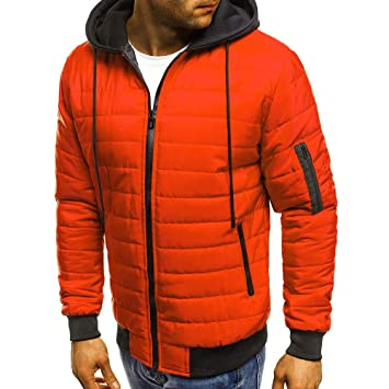 size 40 8fa83 edea6 OHQ_Herren Daunenjacken Winterjacke Hooded Puffer Jacket ...