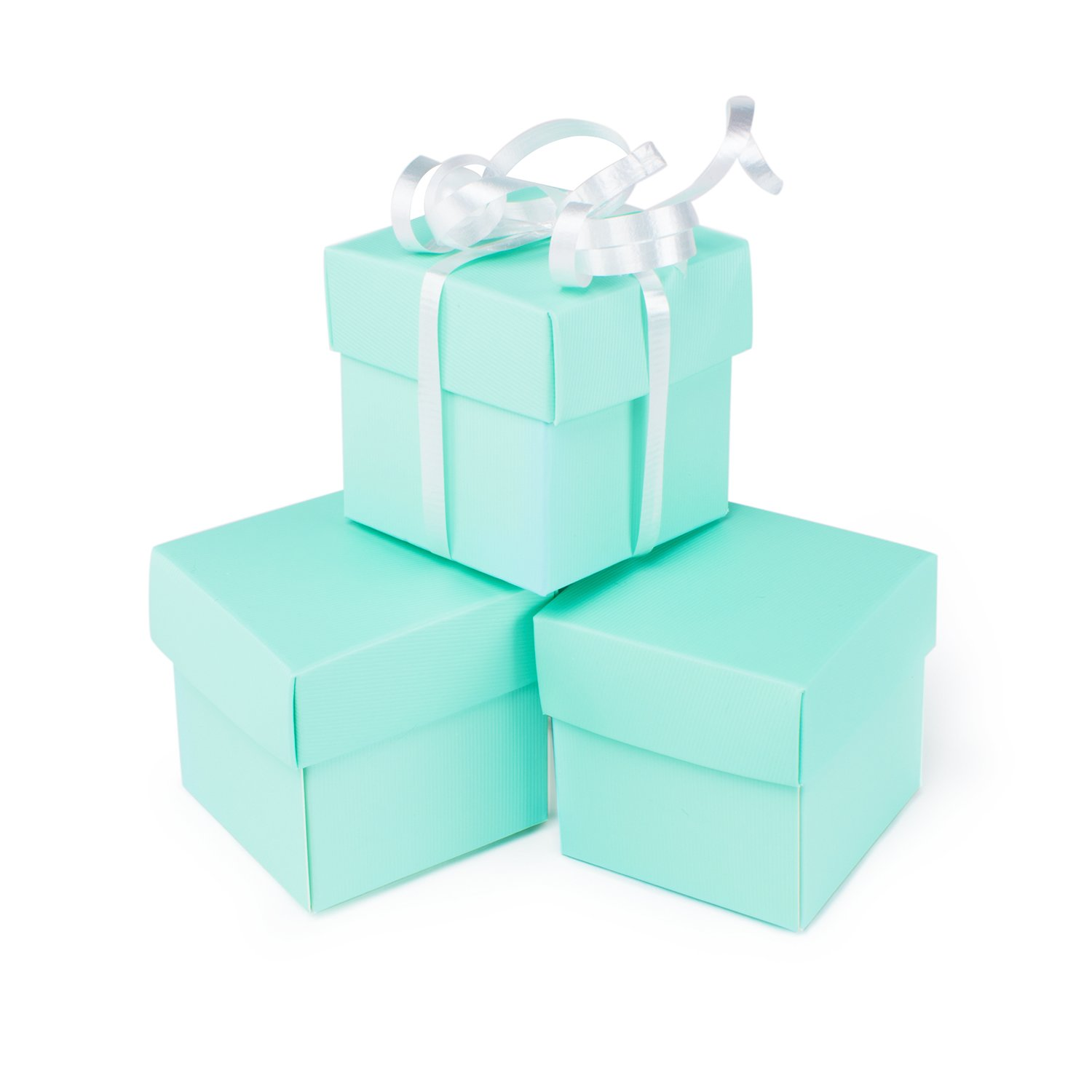 """Mini Small Square Cube Robin's Egg Blue Gift Boxes with Lids for Party Favors, Decoration, Weddings, Birthdays, and more. 2"""" x 2"""" x 2"""" in Size. (10 Pack)"""