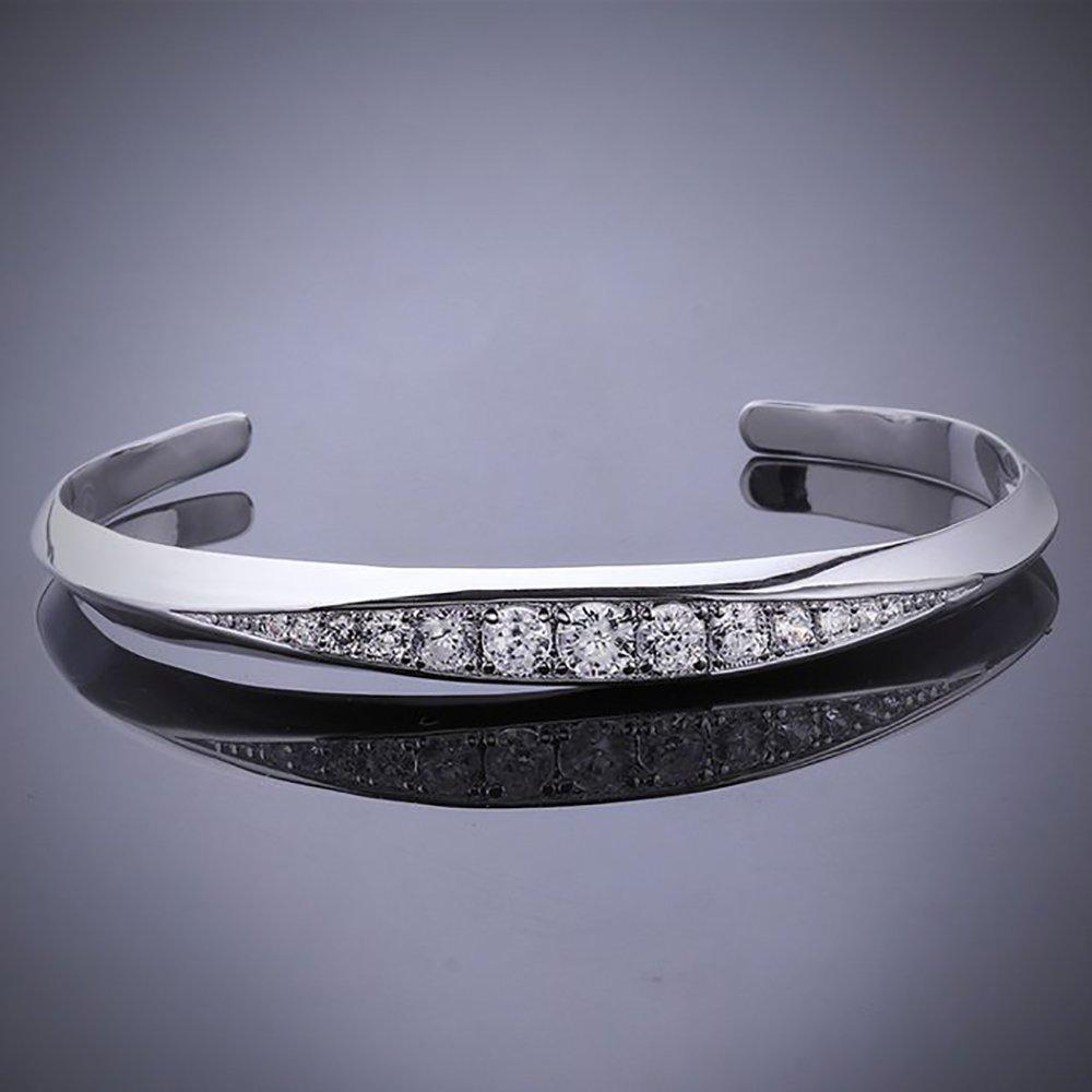 SIENNA693 Silver Plated Bangle Bracelets 925 Silver Jewelry Fashion Bangle Jewelry Gift for BFF SU708