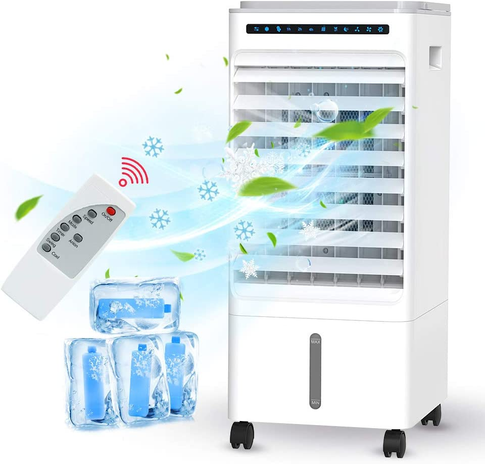 HAUEA Portable Air Conditioner, 4 in 1 Air Conditioner Fan, 5L Evaporative Air Cooler with 3 Modes & 3 Speeds, 1-7 Hours Timer, Personal Cooling Fan with Remote Control, for Home, Large Room, Office