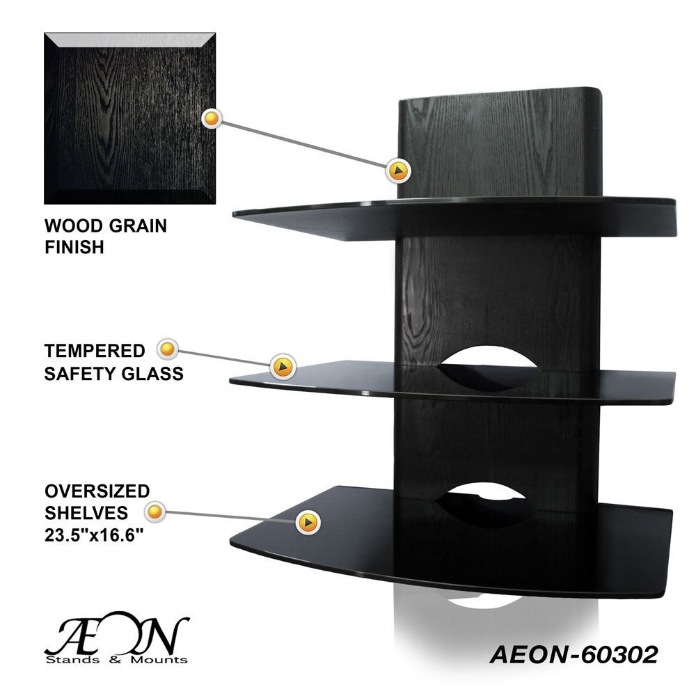 Amazon.com: Component Shelf Mount with wood grain and three large ...