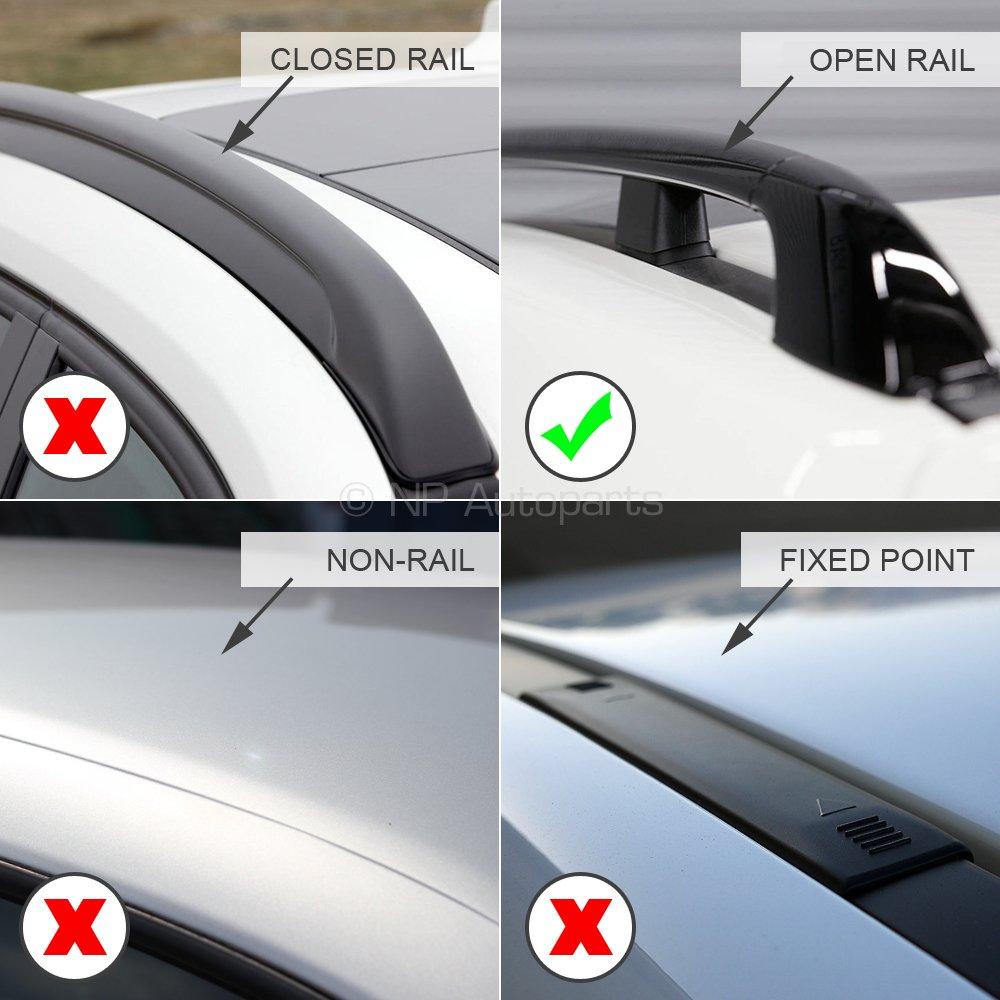 Farad FA-PRE-147 Aero Aluminium Silver Roof Bar Set Open Roof Rails