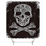 Black and White Skull skulls Bathroom Set with Hooks Adornment Bathroom Shower Curtain Mildew Proof Waterproof Cloth Shower Room Decor (66Wx72L)