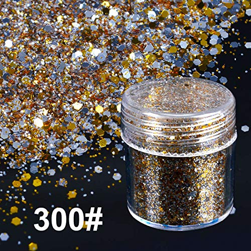 Glitter Nail - 1 Bottle 10ml Silver Golden Optional Art Glitter Powder Hexagon Sequins Powder Decorations for S Gel Polish]()