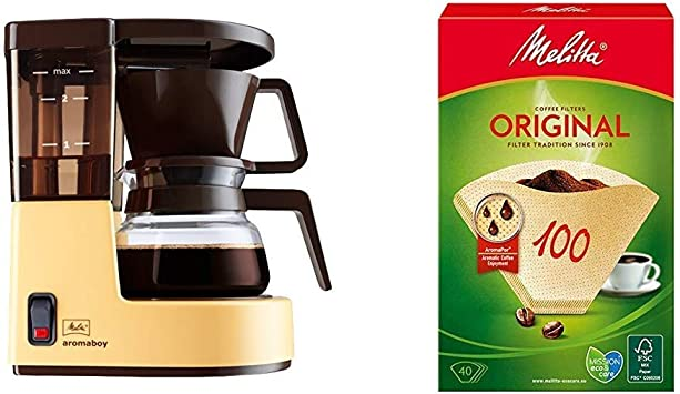 Melitta Cafetera de filtro con jarra de vidrio, Para 2 tazas de café, Aromaboy, Crema, 1015 03 + 12603.3 filtro y accesorio para máquinas de café