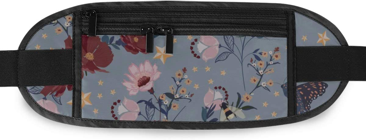 Travel Waist Pack,travel Pocket With Adjustable Belt Retro Blooming Flowers Insectbeesbutterflyladybugwith Vintage Stars Running Lumbar Pack For Tr