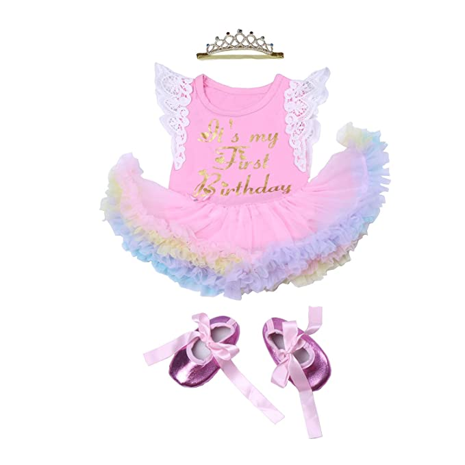 c6a398904 BabyPreg 3PCs Baby Girls' 1st Birthday Tutu Dress Onesie Skirt Headband  Outfit (M/
