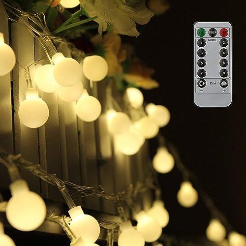 Tomshine Guirnalda Luces 10 m 80LEDs Blanco Cálido con Control Remoto para Jardines Fiesta de Navidad blanco cálido