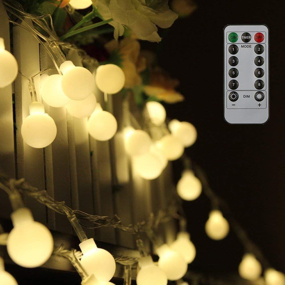 Tomshine Guirnalda Luces 10 m 80LEDs Blanco Cálido con Control Remoto para Jardines Fiesta de Navidad (blanco cálido)