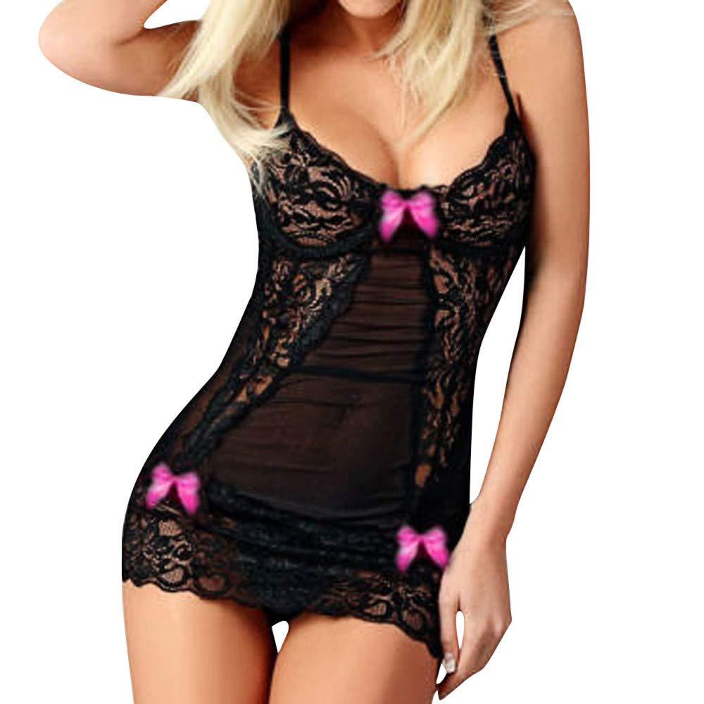 Seaintheson Women Lace Racy Underwear Sexy Bow Spice Suit Sleepwear Temptation Underwear Lace Nightdress Hot Pink