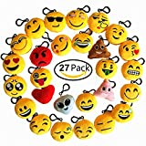 Emoji Keychain 27 Pack Birthday Party Supplies Favors by Time-killer Gift for Kids Students Christmas (Pack of 27)