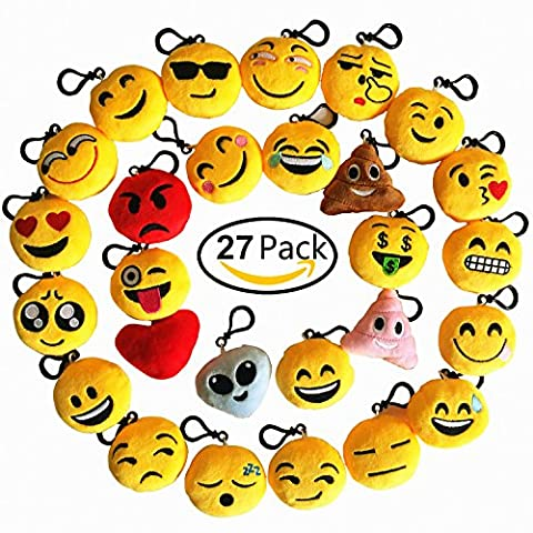 Emoji Keychain 27 Pack Birthday Party Supplies Favors by Time-killer Gift for Kids Students Christmas (Pack of - Killer Monkey
