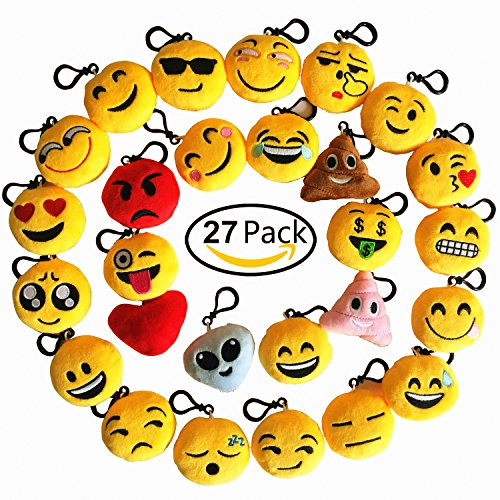 Time Party Favor Kit (Emoji Keychain 27 Pack Birthday Party Supplies Favors by Time-killer Gift for Kids Students Christmas (Pack of 27))