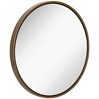 Clean Large Modern Copper Circle Frame Wall Mirror | Contemporary Premium Silver Backed Floating Round Glass Panel | Vanity, Bedroom, or Bathroom | Hanging
