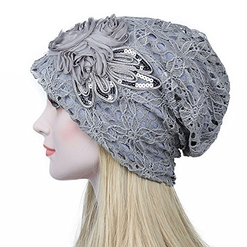 Kimloog Womens Lace Flower Turban Hat Sequins Hair Loss Beanie Head Wrap Caps (Silver) for $<!--$6.88-->