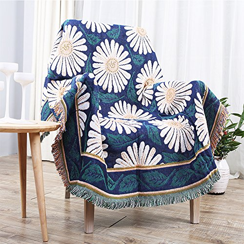 FabricMCC Throw Blanket, Decorative Cotton Thread Blanket Sofa Couch Chair  Bed Lid Carpet Beach Throw Tapestry Home Decoration, 51 By 63 Inch