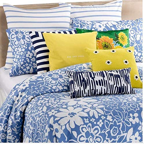 Kate Spade Full Queen 3 Piece Duver Cover and Sham Set Monaco Floral Cornflower Blue