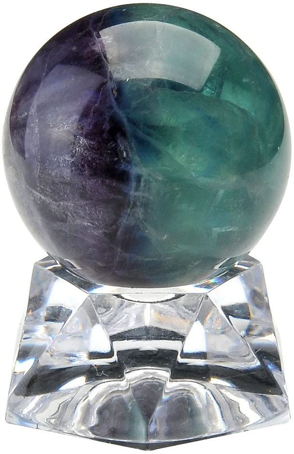 "Jovivi 1.2""(30mm) Natural Dragon Blood Jasper/Fluorite Healing Crystal Gemstone Ball Divination Sphere Sculpture Figurine with Acrylic Stand"