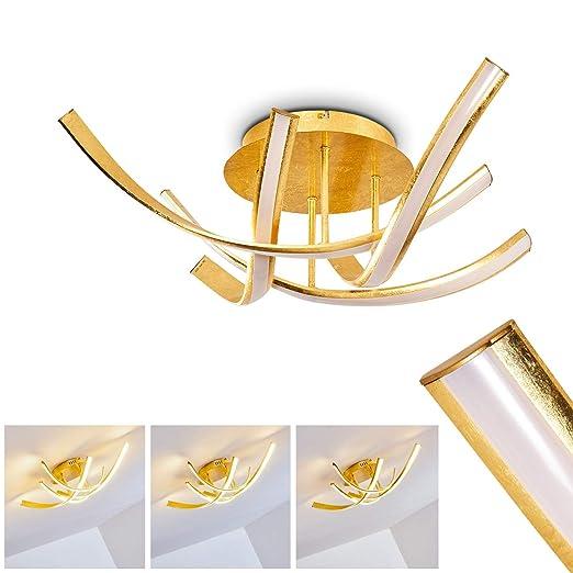 Lámpara de techo de metal dorado - Aranu - LED de 4 lámparas ...