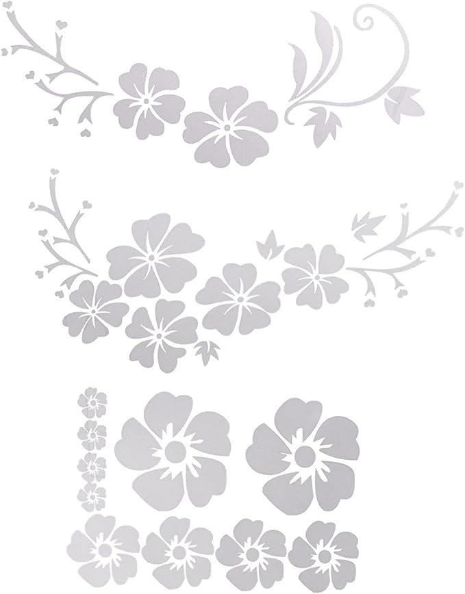 Acbungji Hibiskus Autoaufkleber Blumen Blumenaufkleber Autotattoos Selbstklebend Aufkleber Fenster Schwarz Weiß Wasserfest Weiß Blume Auto