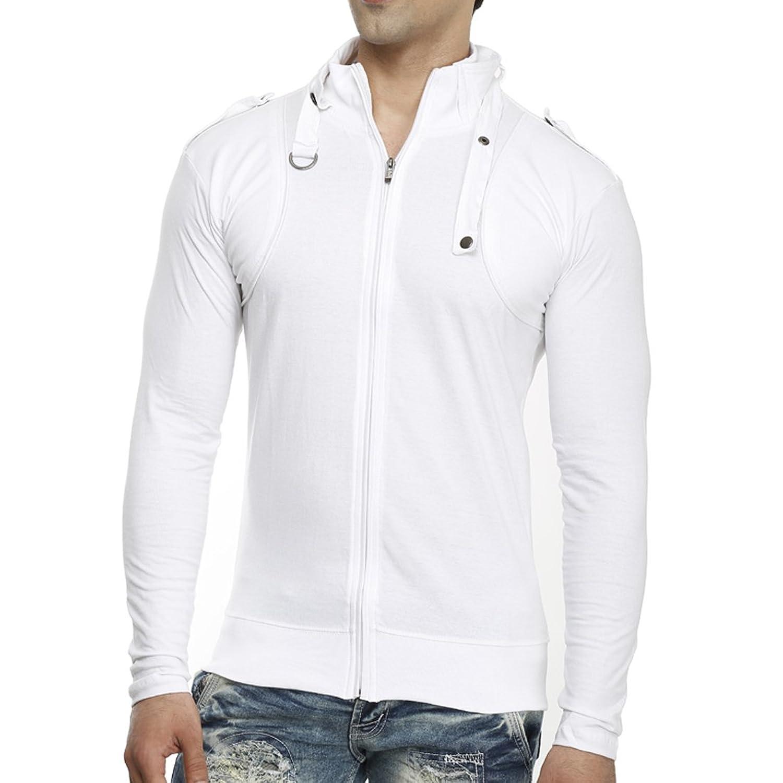 Tees Collection Men's Full Zip Buckle Neck Full Sleeve White ...