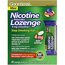GoodSense Mini Nicotine Polacrilex Lozenge, Mint, 4mg, 81 Count