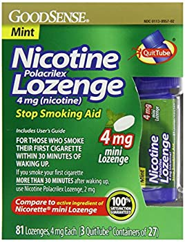 GoodSense Mini Nicotine Polacrilex Lozenge, Mint, 4mg, 81 Count