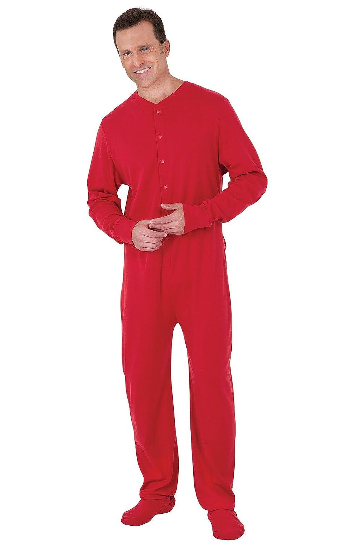 PajamaGram Men's Cotton Dropseat Footie Pajamas GAMV00945