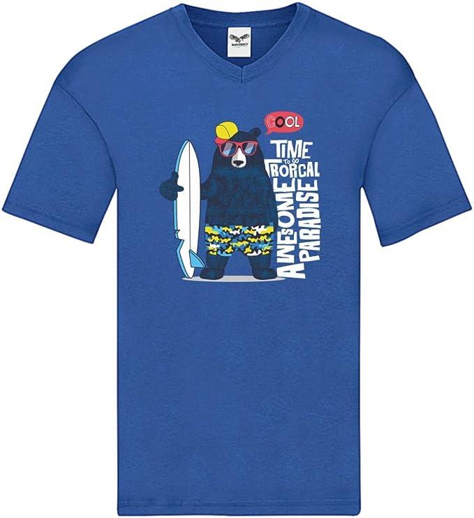 Druckerlebnis24 Camiseta V – Surf Oso Gafas de Sol Dibujos Animados – Camiseta para Hombre y Hombre con Cuello en V: Amazon.es: Ropa y accesorios