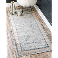 Unique Loom Kensington Collection Light Blue 3 x 10 Runner Area Rug (2 7 x 10)