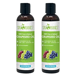 Grapeseed Oil by Sky Organics (8oz x 2 Pack) 100% Pure, Natural & Cold-Pressed Grapeseed Oil - Ideal for Massage, Cooking and Aromatherapy- Rich in Vitamin A, E and K- Helps Reduce Wrinkles
