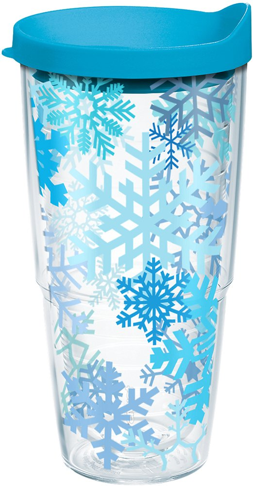 Clear Tervis 1162359 Snowflakes Tumbler with Wrap and Turquoise Lid 24oz