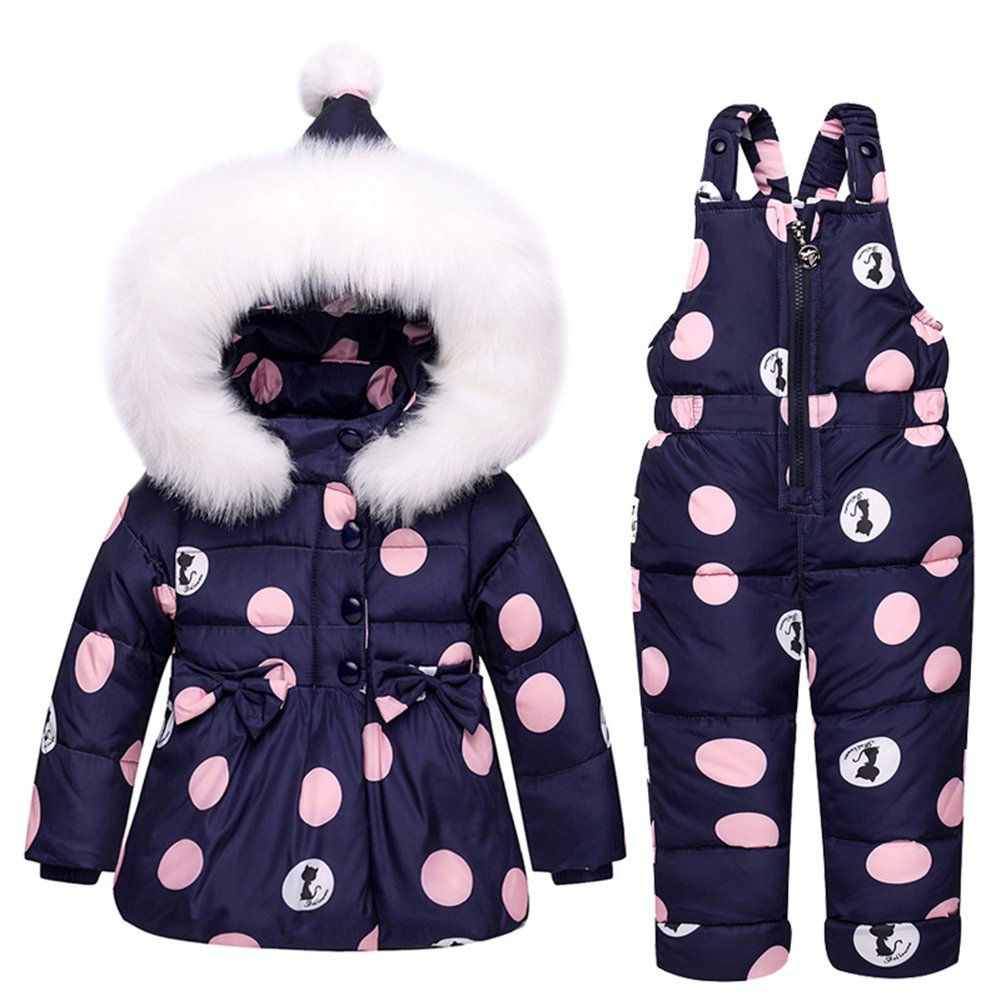 Baby Girls Snowsuit Toddler Puffer Hooded Jacket + Bib Pants 2 Pieces Set Dark Blue 80 by LOSORN ZPY